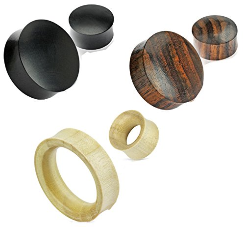 Zaya Body Jewelry 3 Pairs of Organic Wood Hand Carved Ear Plugs Tunnels Gauges 8g 6g 4g 2g 0g 00g 7/16 1/2 9/16 5/8 3/4 7/8 24mm 26mm 28mm 30mm (1/2)
