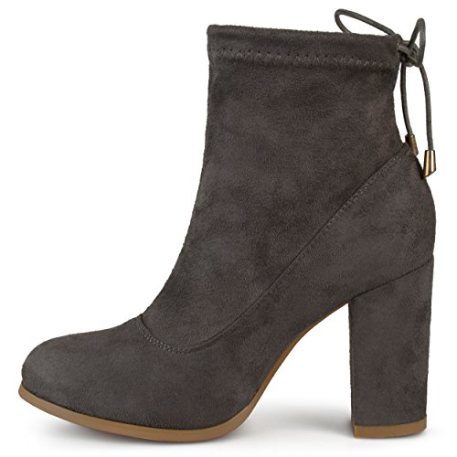 Journee Collectie Dames Tie Back Blokhak Hiel Faux Suede Hoge Hak Booties Grijs