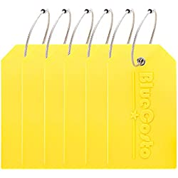 BlueCosto 6 Pack Luggage Tags Suitcase Tag Travel Bag Labels w/Privacy Cover - Yellow