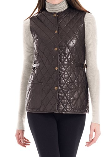 MAXSTUDIO Quilted Soft Leather Vest Womens Outerwear Sleeveless Coat