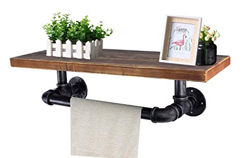 Diwhy Industrial Pipe Shelf Shelving Pine Wood and Pipe Towel Rack - Multiple Shelves (Wood 01, 24)