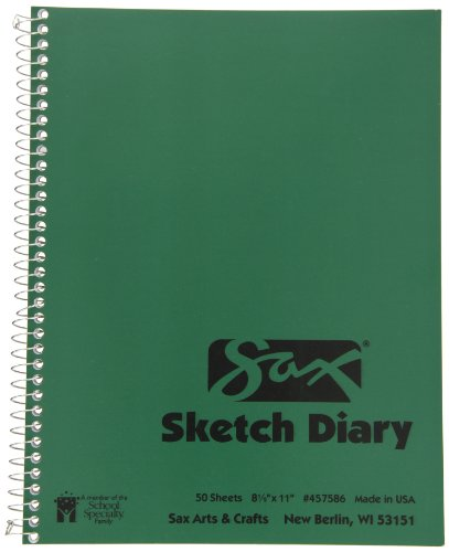 Sax Artists Sketch Diary - 8 1/2 x 11 inches - 50 Sheets per Pad - White (Diary Sketch Artists)