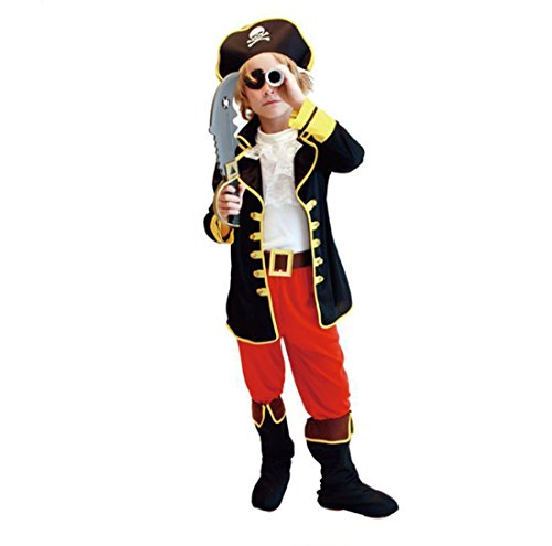 Kids Child Boys Pirate Pretend Party Halloween Buccaneer Costume Full Set (L) (Pirate Halloween Costume Outfit)