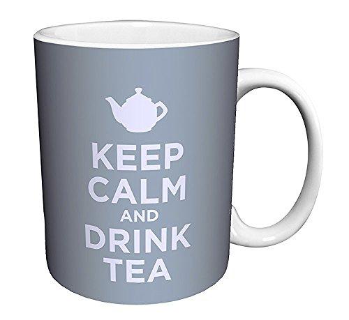 Keep Calm and Drink Tea Blue Novelty Food Drink Humor Quote Ceramic Gift Coffee (Tea, Cocoa) 11 Oz. Mug