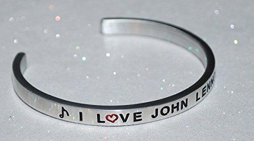 John Lennon Jewelry (I Love John Lennon  :  Engraved Handmade Jewelry Bracelet Silver Color)