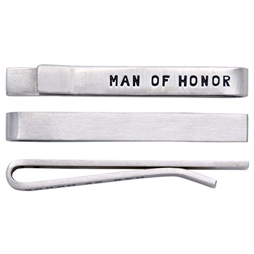 O.RIYA Stainless Steel Tie Clips Man of Honor (White)