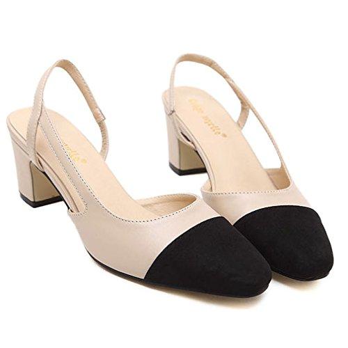 Albaricoque 38 la acentuada Mujeres de Correa Sintético Color de Sandalias Zapatos Sandalias Mezcla Tacones Bloque Xianshu Cabeza con qnZaYU4awx