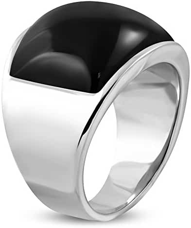 Stainless Steel Bezel-Set Oval Cocktail Dome Ring W/ Black Glass Stone - RBR373