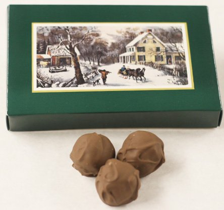 Scott's Cakes Milk Chocolate Covered Black Walnut Cream Bon-Bons in a 1 Pound Homestead Box
