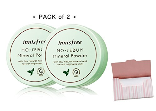 [Innisfree] No Sebum Mineral Powder 2 Set Bundle with Oil Blotting Paper (Matt Touch Foundation Oil)