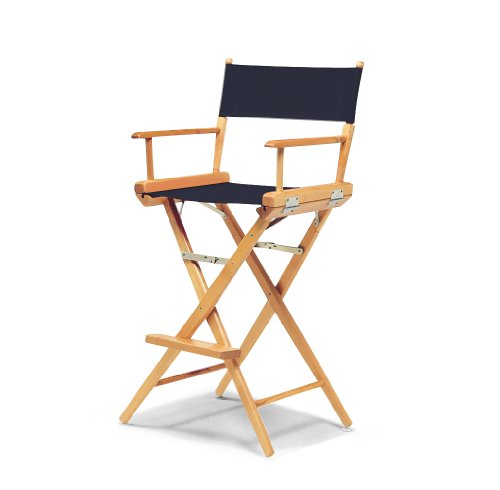 Telescope Casual World Famous Bar Height Director Chair, Navy with Varnish Frame