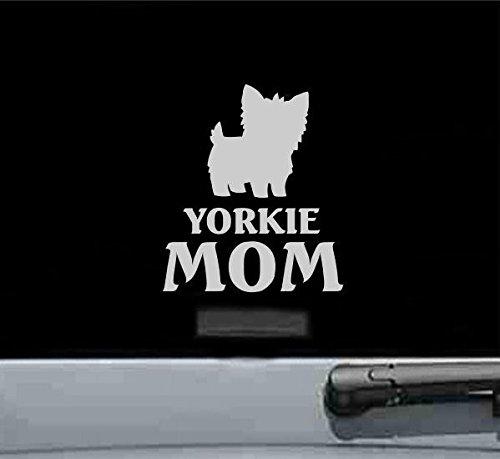 (Yorkie Mom Yorkshire Terrier Dog Vinyl Decal Sticker (SILVER))