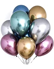 PuTwo Chrome Balloons 50 pcs 12 Inch Gold Balloons Red Balloons Blue Metallic Balloons, Multicolour Shiny Balloons Party Balloons for Wedding, Birthday, Princess Ariel Party, Little Mermaid Party