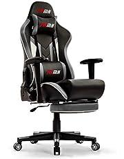 IntimaTe WM Heart Gamingstoel, gaming stoel, van kunstleer, gaming stoel met voetensteun, ergonomische computerstoel, draaistoel, bureaustoel, zwart + grijs