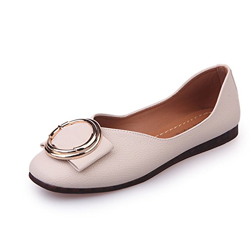rubber head Beige square thin Square shallow shoes Women's mouth head 81nqxA6tw