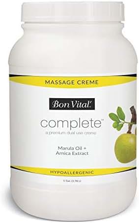 Bon Vital Complete Massage Creme, Premium Dual Purpose Cream for Hypoallergenic Professional Massages, Non Greasy Unscented Moisturizer Made with Marula, Olive, Avocado, & Jojoba Oil, Various Sizes