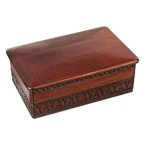 Enchanted World of Boxes Espresso Stained Linden Wood Jewelry Keepsake Storage Box