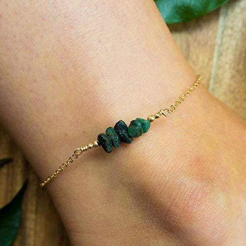 Emerald bead bar crystal gemstone anklet in 14k gold fill - 8