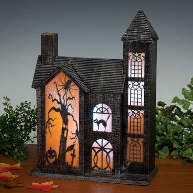 Bits and Pieces - Color Changing Glitter Haunted House Sculpture - Halloween Home Décor