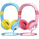 Mpow Wired Kids Headphones, On-Ear Headphones Volume Limiting Wired Headset with SharePort for Children, Fits LeapFrog, Orbo Jr, Galaxy Tab, Dragon Touch Tablets, Smartphones, Laptop, BLUE (2 Pack)
