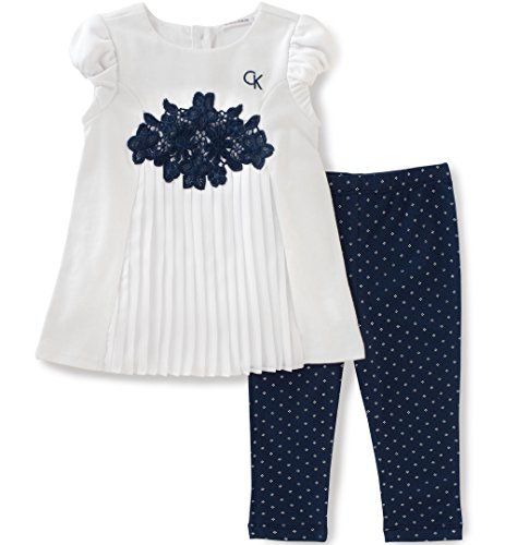 Calvin Klein Baby Girls' 2 Pieces Tunic Pant Set-Georgette, White/Navy, 3/6M