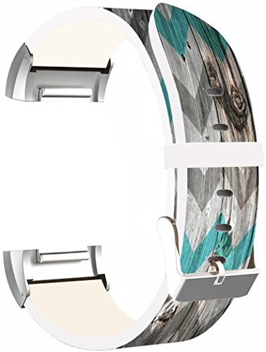 Leather Bands Replacement For Fitbit Charge 2 - Strap Compatible For Fitbit Charge 2 Small & Large Silver Women Men - Retro Print Vintage Theme Pattern Art by ENDIY (Image #4)
