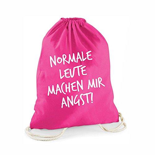 Statement-Turnbeutel pink Normale Leute machen mir Angst! - Gym-Bag Rucksack Hipster Beutel mit Spruch Tasche Jutebeutel Gymsac Sportbeutel