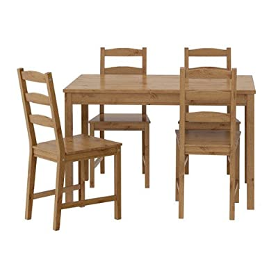 """IKEA 502.111.04 JOKKMOKK Table, Brown - Table (Length 46 1/2"""", width 29 1/8"""", height 29""""). Chair (width 16"""", depth 18"""", height 35"""", seat height 17"""", seat width 16"""", seat depth 16""""). For increased stability, re-tighten the screws about two weeks after assembly. Seats 4. Care instructions Wipe clean using a damp cloth and a mild cleaner. Wipe dry with a clean cloth. Product description Solid pine, Stain, Clear acrylic lacquer - kitchen-dining-room-furniture, kitchen-dining-room, dining-sets - 414R rF84aL. SS400  -"""