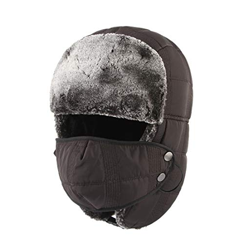 Bonvince Winter Trapper Trooper Hat Windproof Warm Camouflage Mask Ear Flaps Outdoor Sports Skiing Walking Hunting Hat Coffee
