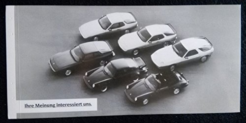1982c PORSCHE FULL-LINE: 911, 944, 924 & 928 VINTAGE NON-COLOR INFORMATION CARD - GERMANY - GREAT ORIGINAL !!