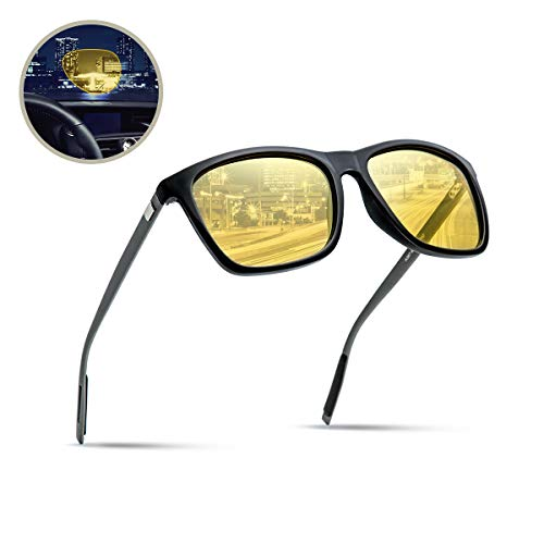 Surenue night driving glasses anti glare Wood polarized Yellow Tint Polycarbonate Lens Safety Sunglasses Men Women (wayfarer-yellow-C, wayfarer-yellow-C)