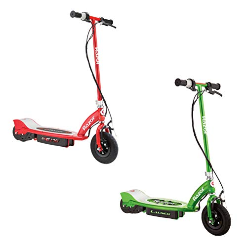 Razor Motorized Rechargeable Electric Powered Kids Scooters, 1 Green & 1 Red