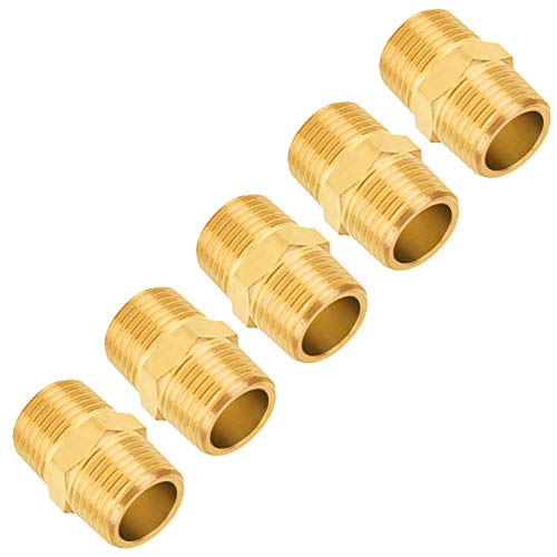 (Brass Pipe Fitting, SUNGATOR 1/2-Inch x 1/2-Inch NPT Male Pipe, Hex Nipple (5-Pack))