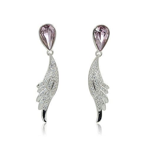 Sterling Silver Clear CZ Paved Angle Wings Swarovski Purple Tear-Drop Cyrstal Long Dangle Drop Earrings by espere