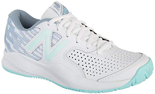 (New Balance Women's 696v3 Hard Court Tennis Shoe, White/Light Reef, 7.5 B US)