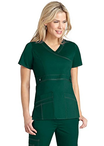Adar Pop-Stretch Women's Junior Fit Taskwear Tab-Waist Crossover Scrub Top - 3200 - Hunter Green - (Snap Front Scrub Top Hunter)