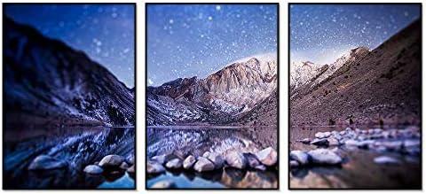 ブラック アルミ合金フレーム アートプリント ホーム装飾画(チルトシフト写真、山、湖、石、星空)30x40cmx3枚
