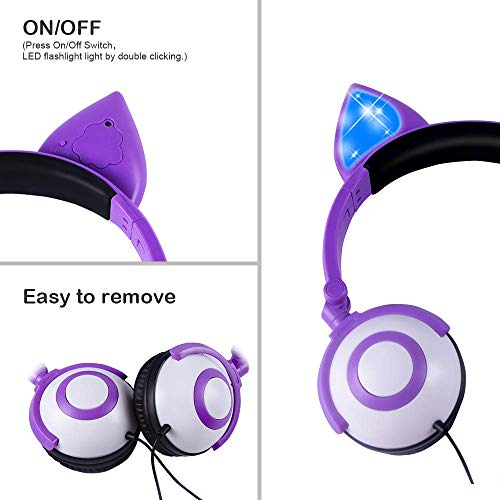 Kids Headphones,LOBKIN Headphones for Kids Girls Toddler,Unicorns Cat Ear Over-Ear/On-Ear Wired Headphones,Adjustable Gaming Headset for Ipad/School/Tablet/Laptop,Great Gifts for Girls(Dark Purple)