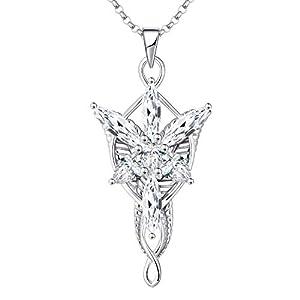 JO WISDOM Collier Arwen Evenstar Argent 925/1000 Femme, Chaîne avec Pendentif avec 5A Oxyde de Zircon Elvish Bijoux