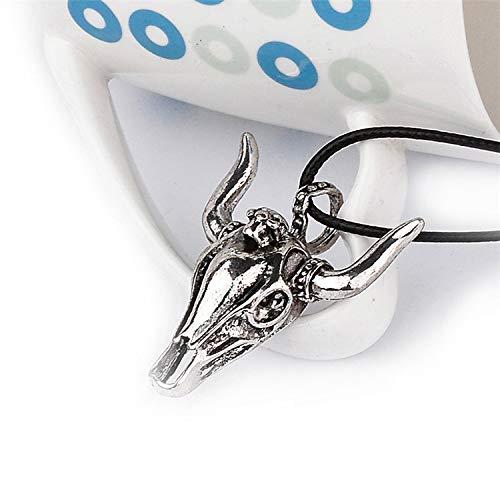 creativo de cuero Collar Cuerda retro de Cabeza de Vaca Colgante de Cordón de la mujer Bisutería regalo