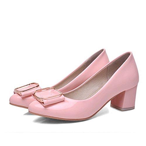 AllhqFashion Damen Ziehen auf Spitz Schließen Zehe Mittler Absatz Rein Pumps Schuhe Pink