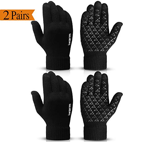COOYOO Winter Gloves for Women and Men Touchscreen Gloves,Knit Wool, Anti-Slip Silicone Gel - Elastic Cuff - Thermal Soft Wool Lining - Stretchy Material