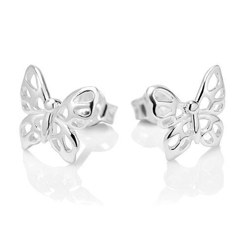 Butterfly Post Earrings (925 Sterling Silver Little Butterfly 11 mm Post Stud Earrings)