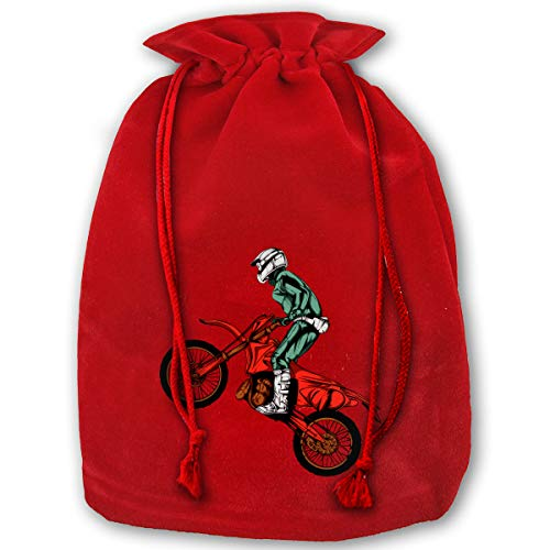 LOUXIO Motorcycle Helmet Motocross Clip Art Christmas Drawstring Gift Bags Santa Storage Sack Backpack for Party Favors Candy Delicate Printing
