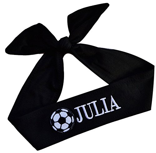 Funny Girl Designs Soccer Headband Moisture Wicking TIE Back Personalized with The Embroidered Name of Your Choice (Black TIE Back)