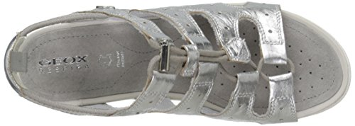 Geox D Sandal Vega a, Sandalias con Punta Abierta para Mujer Plateado (Silver)