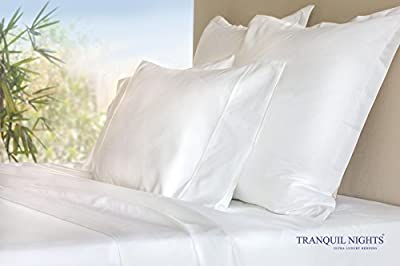 TRANQUIL NIGHTS 600 Thread Count Sheet Set, 4 Piece set, 100% Premium Long Staple Cotton, Sateen Weave Bedsheets, Classic Z Hem, Ultra Soft and Shine, Fits up to 17 inches deep mattresses