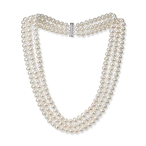 Sterling Silver 6.5-7mm 3-rows White Freshwater Cultured High Luster Pearl Necklace, 18″