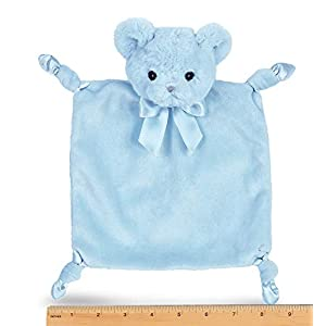 Bearington Baby Wee Huggie Bear, Small Blue Teddy Bear Stuffed Animal Lovey Security Blanket, 8″ x 7″