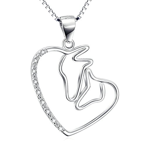 Aooaz Jewelry Silver Plated Open Heart Love Forever Double Horse Head Necklace,18